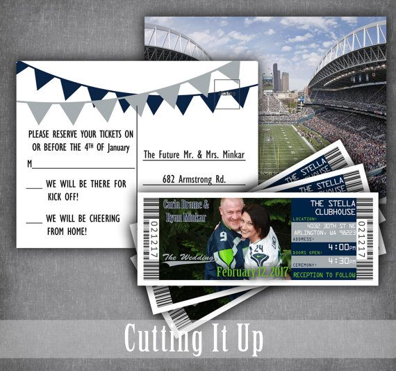 Football Wedding Invitations, Football Ticket Invitation, Sports Wedding Invitations, Football, Seattle Seahawks, Philadelphia Eagles, NFL by CuttingItUp