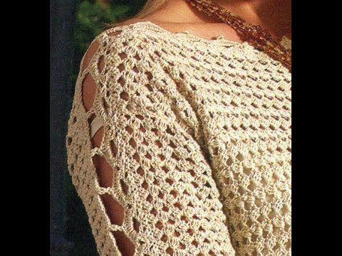 Sabes tejer ? Que tal suéter cerrado mangas caladas a crochet - YouTube
