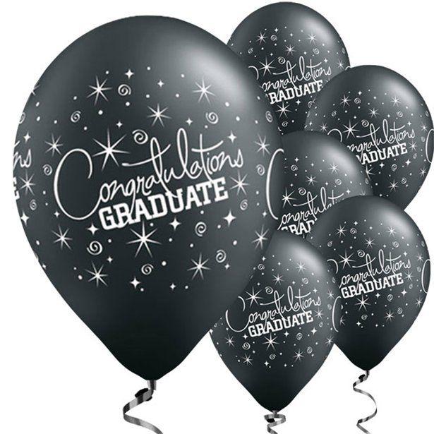 "Black Graduation Balloons - 11"" Latex (Pack of 6)"