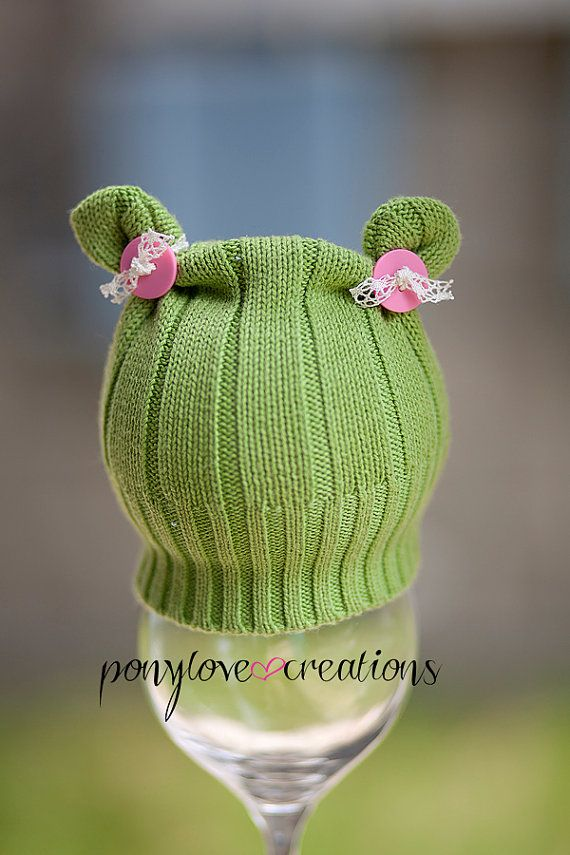 Newborn Upcycled Green Teddy Bear Ear Hat with Pink Buttons