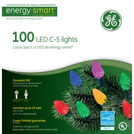 GE�100-Count LED C5 Multicolor Christmas String Lights ENERGY STAR