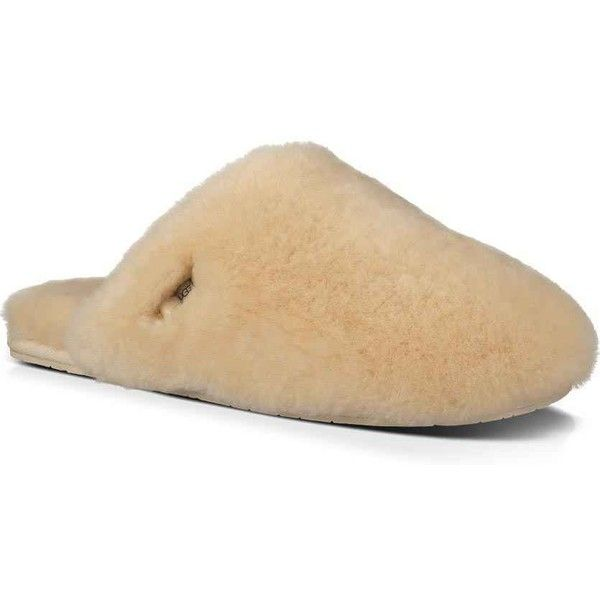 UGG Women's Fluff Clog Natural Clogs & Mules ($100) ❤ liked on Polyvore featuring shoes, clogs, beige, mule shoes, flexible shoes, clog mules, clogs footwear and lightweight shoes