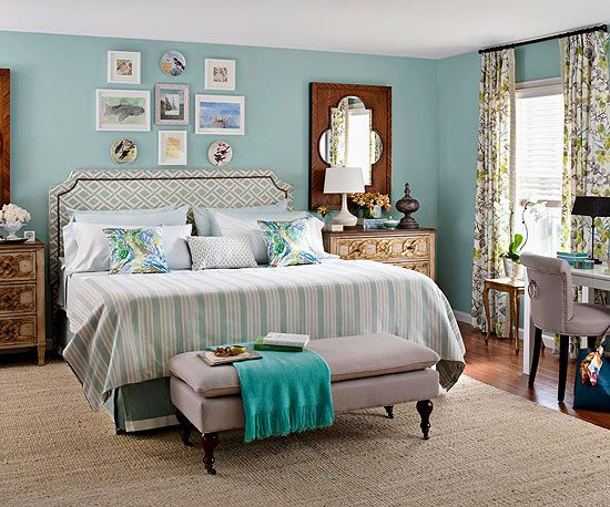 Just love this eclectic blue / teal bedroom. Get more ideas for decorating with color: http://www.bhg.com/decorating/color/colors/decorating-with-color-expert-tips/