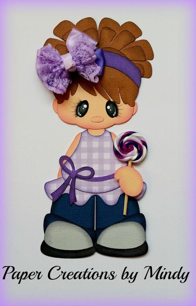 ELITE4U lollipop girl kids purple premade paper piecing scrapbooking card page ~ DT Mindy