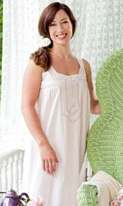 The 'Adeline' in petal rose is a cotton nighty that epitomizes April's talent for incorporating classic romantic details while maintaining the comfort and lightness we all crave. Pintucks and crochet lace clasp the bodice in a stylized V, echoing the design of the sleeveless straps. Mother of pearl buttons delight, like shimmering shells by the sea. http://www.aprilcornell.com/product/Adeline-Ladies-Nighty-NTA5259W-PetalRose/nightwear