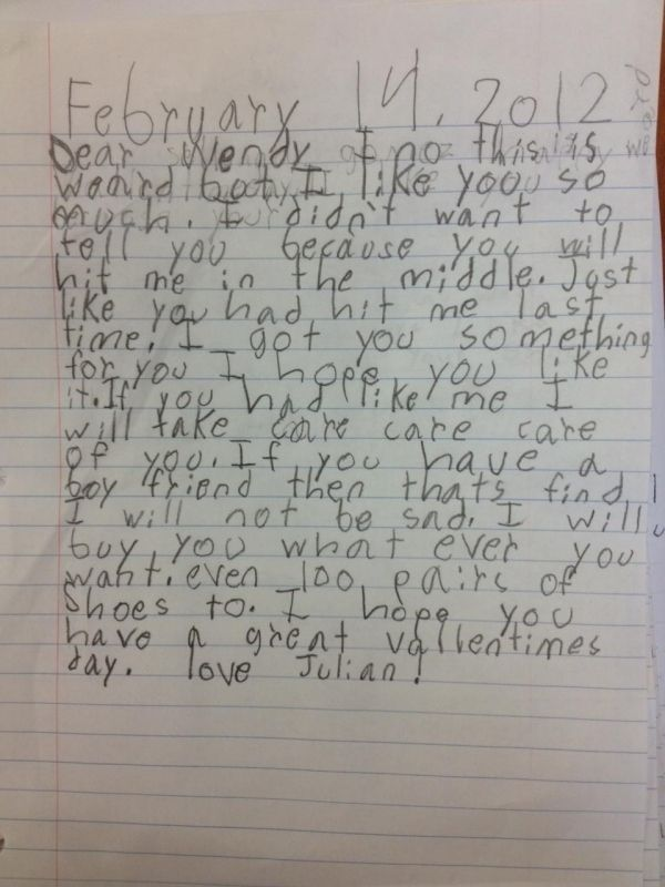 When children write love letters!