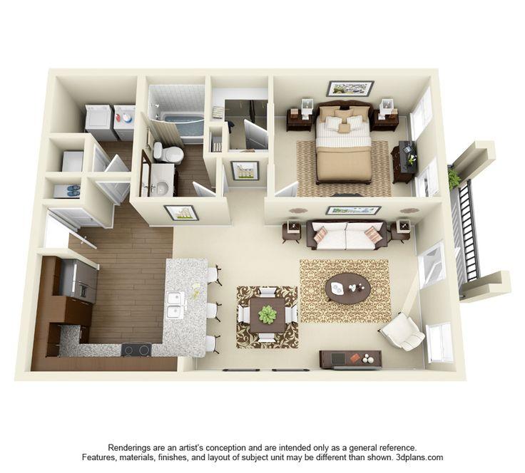 Leeds Floor Plan: 1 bd / 1 ba - 783 Sq. Ft.