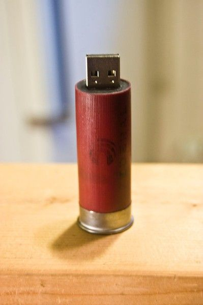 USB flash drive .... in a shotgun shell!  thought of your hubby when I saw this @Sarah Stirman
