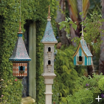 Love the finials on the tops of these birdhouses and the harlequin check pattern, very nice work