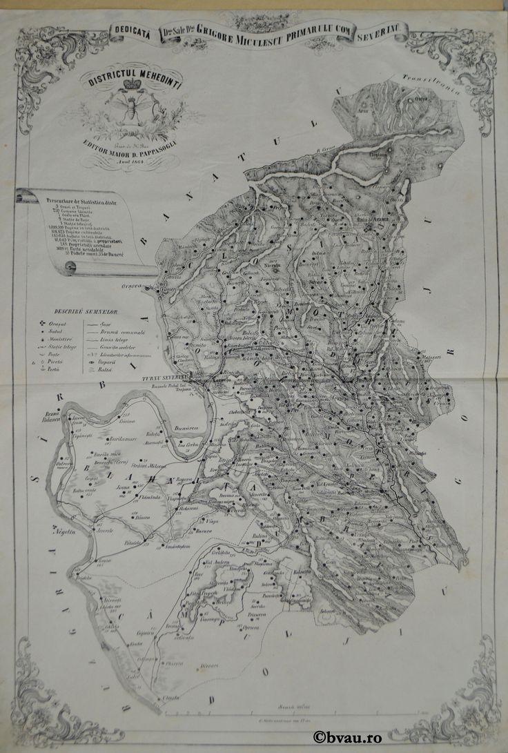 """Districtul Mehedinți, întocmit şi editat de Maior D. Pappasoglu, 1864. Imagine din colecțiile Bibliotecii """"V.A. Urechia"""" Galați."""
