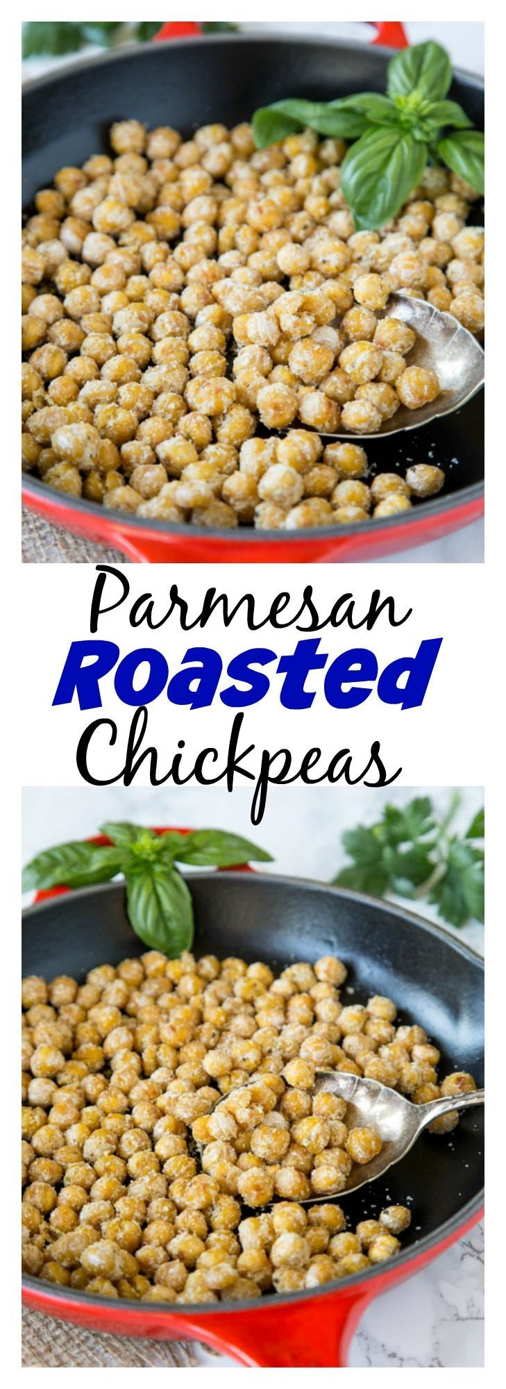 Parmesan Roasted Chickpeas – roasting chickpeas get them super crunchy. A great healthy snack or topping to a salad.