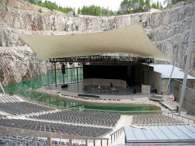 Dalhalla Arena, a former limestone quarry, now turned into an amphitheatre used as a summer music venue in central Sweden.