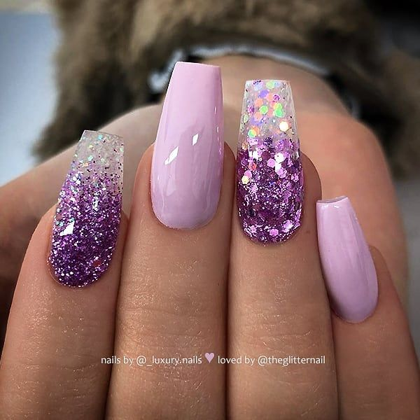 Lilac And Purple Glitter Ombre On Coffin Nails Nail Artis Lilac Nails Purple Nail Designs Purple Glitter Nails