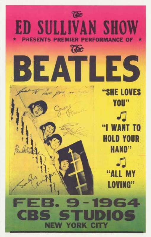 Beatles poster announcing their first appearance, and American debut, on the Ed…