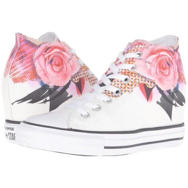 Converse Chuck Taylor All Star Lux Digital Floral Print Mid... found on Polyvore featuring shoes, sneakers, black white shoes, converse shoes, black lace up shoes, sport shoes and white shoes