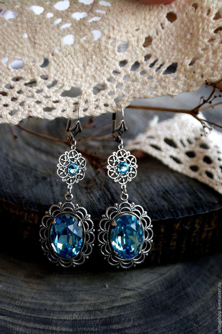 Купить Серьги кристаллы сваровски голубого цвета покрытие серебро 925 - голубой