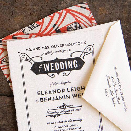 Gatsby Wedding Invitation, Letterpress Wedding Invitation, Art Deco Wedding Invitation, Art Nouveau Invitation, Formal Wedding Invitation by hellotenfold on Etsy https://www.etsy.com/listing/73516576/gatsby-wedding-invitation-letterpress