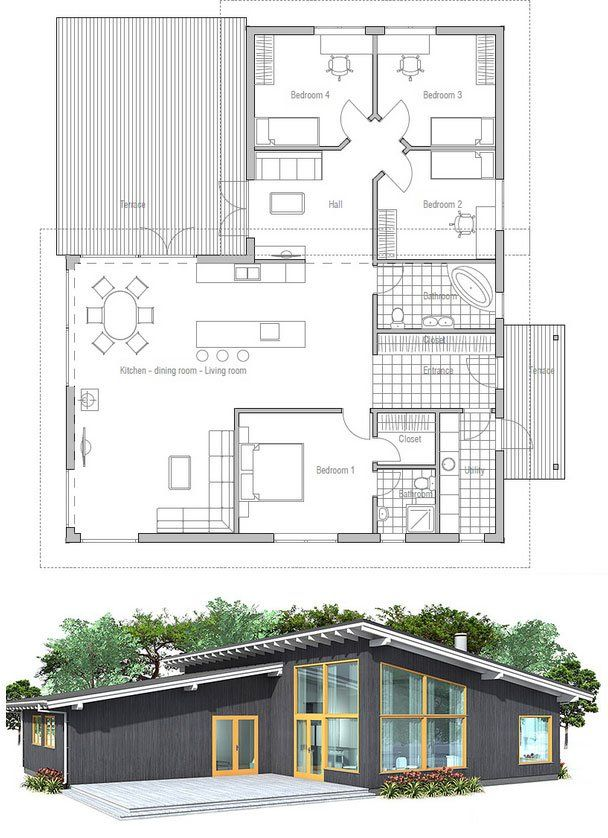 Modern house plan with high ceilings. Four bedrooms and separate TV area for kids. Simple shapes and lines, affordable building budget. Floor plan from ConceptHome.com