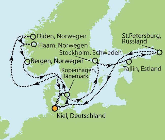 Große Nordeuropa Kreuzfahrt - Besuchen Sie Dänemark - Schweden - Norwegen - Estland und Russland für nur € 1.699 inkl. Transporte & Vollpension!