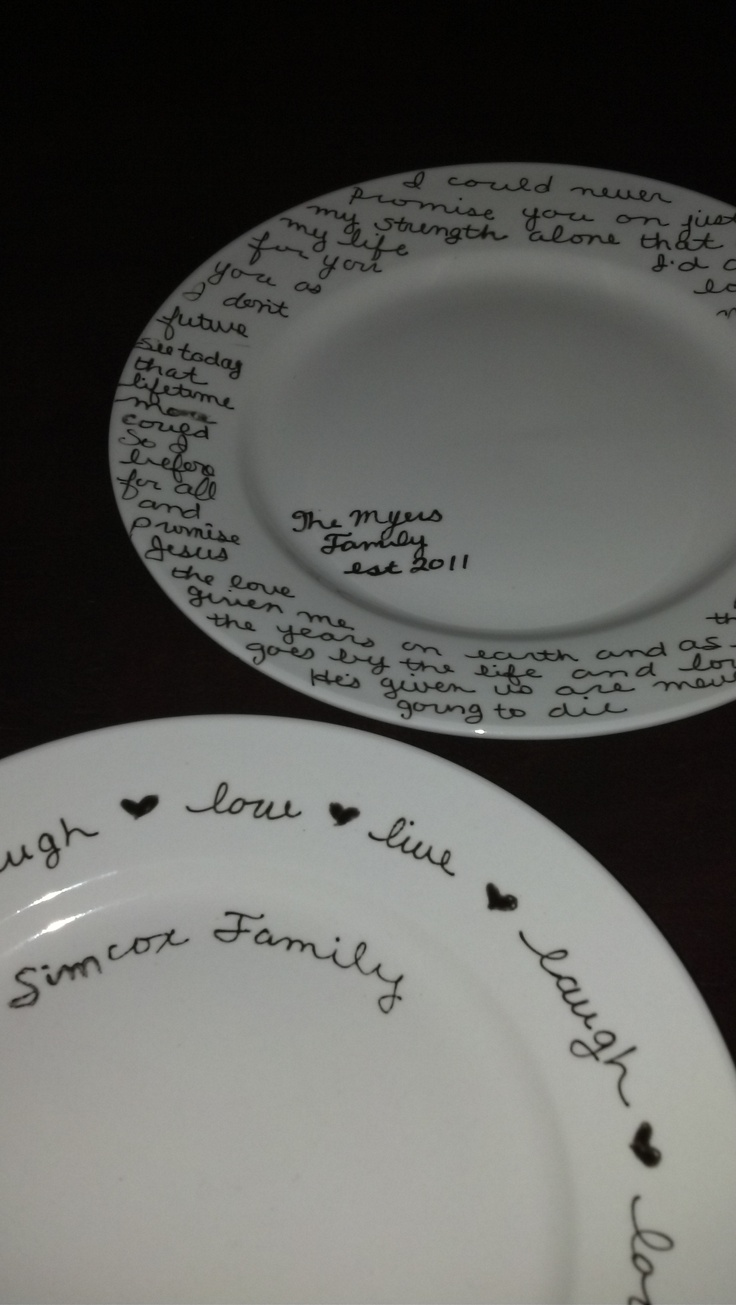 Plates, a ceramic marker and an oven!