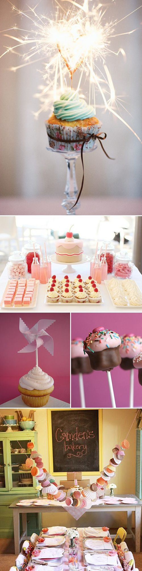 Cupcake Theme Birthday Party Inspiration - love the cupcake wrapper decorations and mini cupcake station