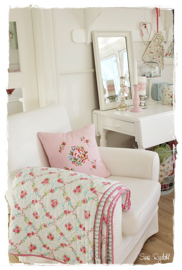 Pink and white floral quilt is pretty in this shabby chic styled room...thinking pretty blues, greens, and purples but the same idea.