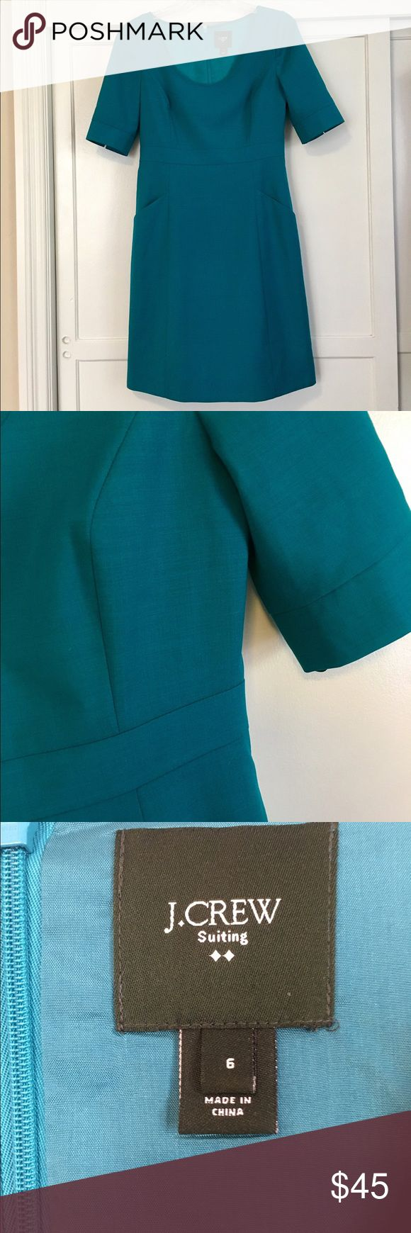 Gorgeous J Crew Suiting business dress. J Crew suit dress in deep teal. Back zip, fully lined. Knee length, slash pockets. Very smart and comfy. Wrinkle resistant suiting wool, seam details around bodice. Perfect condish. J. Crew Dresses Midi
