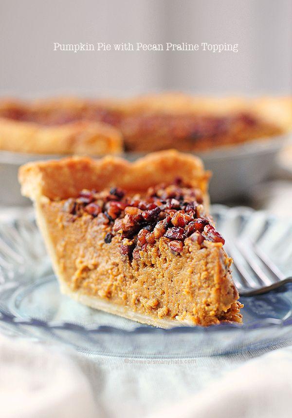 Pumpkin Pie with Pecan Praline Topping | Shewearsmanyhats.com