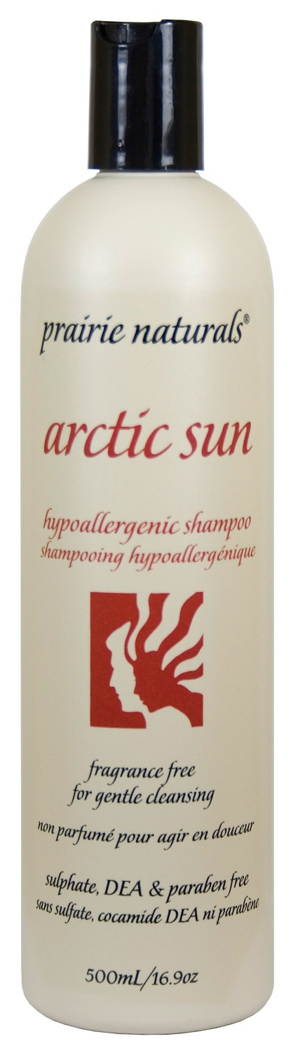 Prairie Naturals - Prairie Naturals : Arctic Sun Hypoallergenic Shampoo. Available at National Nutrition (Orillia, ON) and health stores in Ontario #fragrancefree #unscented #scentfree