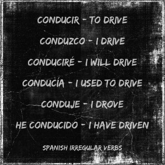 "A Level Spanish on Twitter: ""Conducir - to drive. An irregular verb in #Spanish https://t.co/vo6QBMh0Cb"""