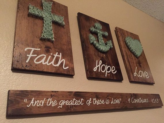 3D Faith Hope Love bible verse Rustic Wooden Sign by RusticGlaze