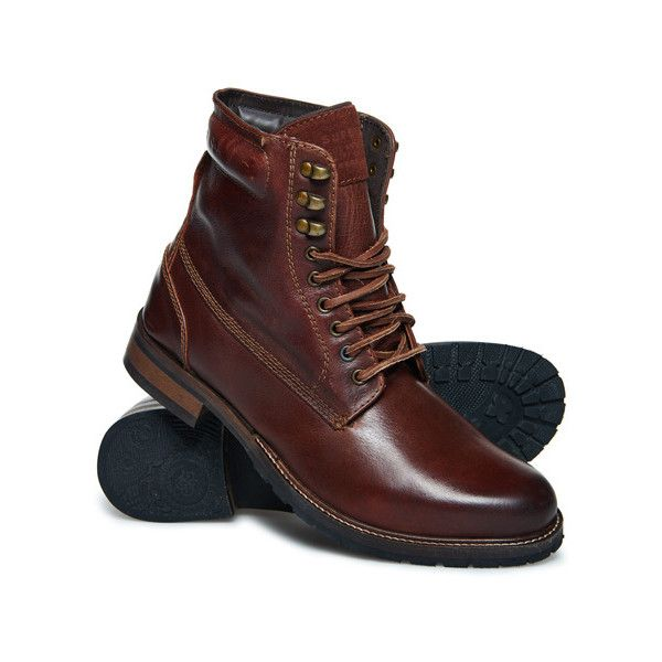 Superdry Edmond Work Boots (320 BRL) ❤ liked on Polyvore featuring men's fashion, men's shoes, men's boots, men's work boots, brown, mens lace up boots, mens work boots, mens boots, mens lace up work boots and mens brown boots