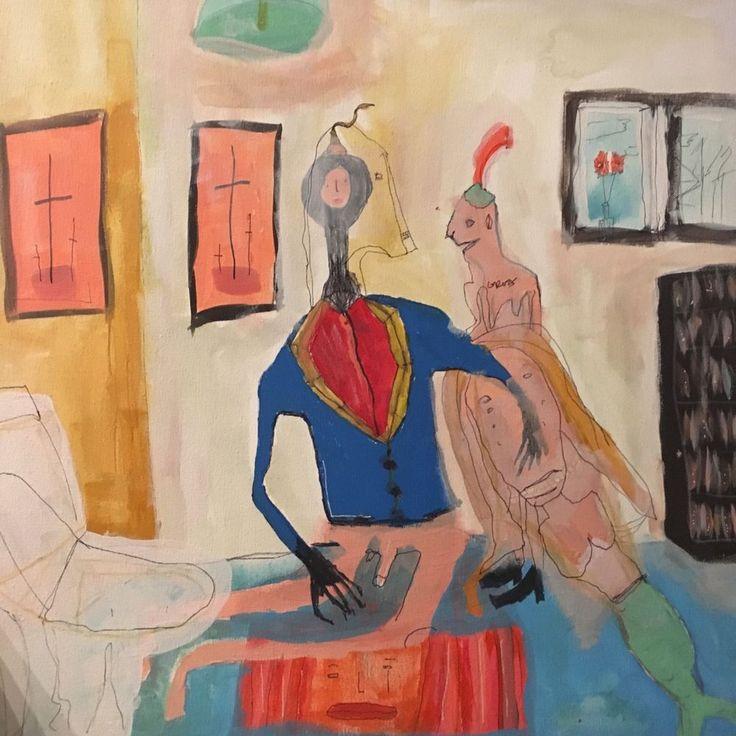 Melissa Monroe - OUTSIDER ART -small  -NIAVE primitive, NEW  original artwork #OutsiderArt