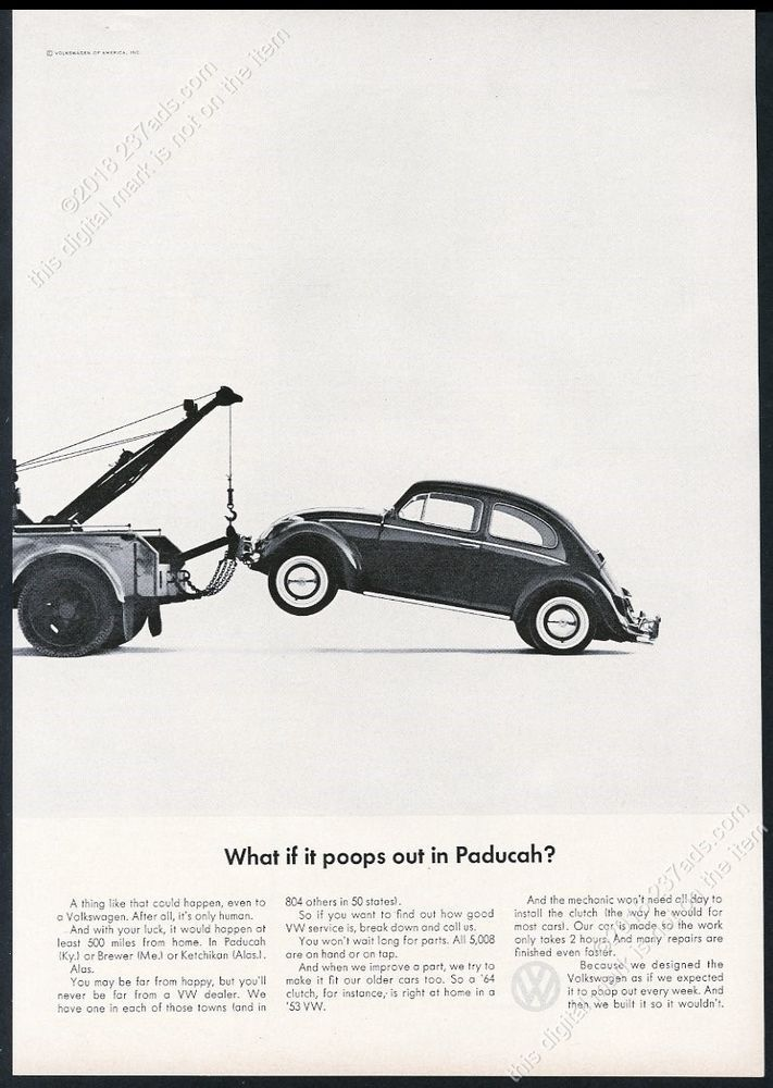 1965 VW Volkswagen Beetle classic car and tow truck photo 11×8 vintage print ad