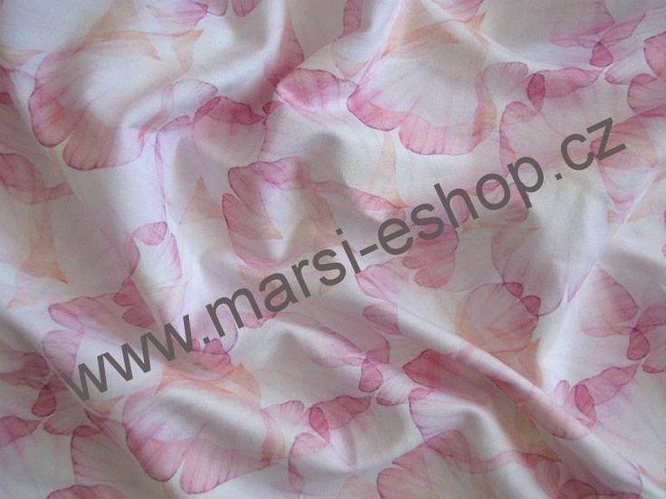 370**Výplněk nepočesaný 240 g - Růžové ginkgo na bílé