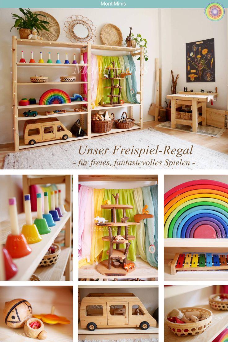 Aus unserem Montessori Kinderzimmer: Michels Freispiel-Regal mit Naturspielzeug (März 2019)
