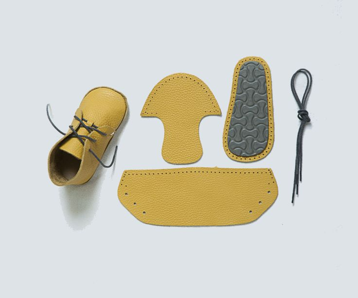 Adorable leather baby shoes to sew yourself! Fun guaranteed http://emilea.be/shop/3562/first-baby-shoes-kit-for-stylish-yellow-leather-shoes/