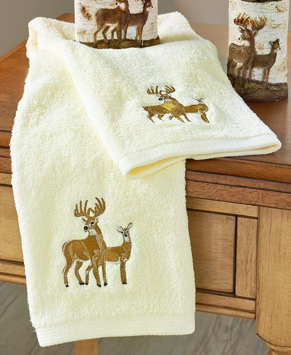Deer Hand Towel Set Of 2 Wildlife Rustic Decor Country Bathroom Decor  #Unbranded