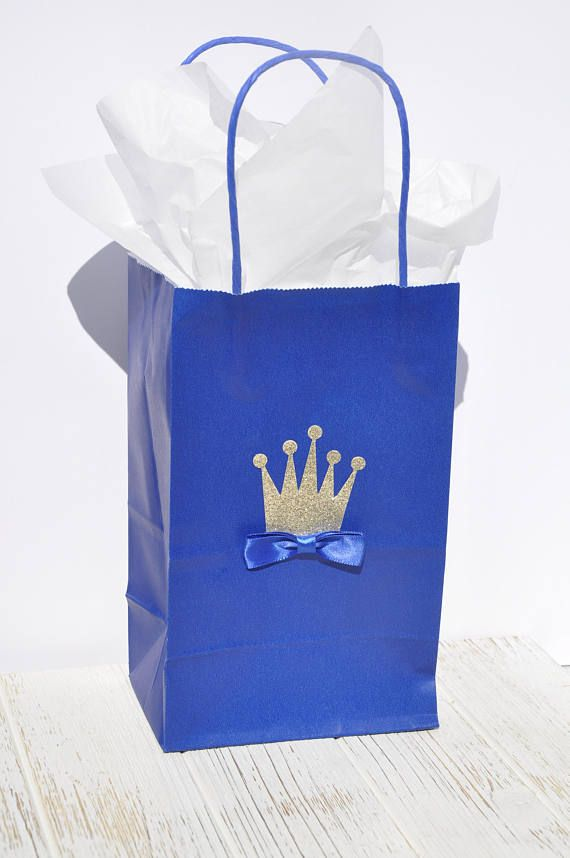 Royal Blue Popcorn goodie bags  SET OF 10 Royal Prince Party favors