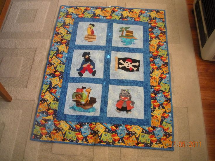 Pirate cot quilt for Chase - own design.