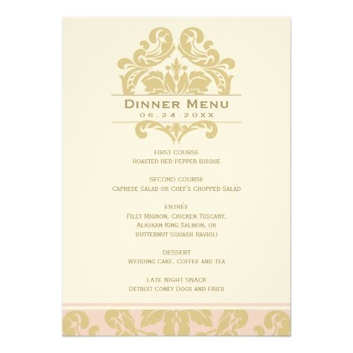 192 best wedding dinner menu images on Pinterest Wedding dinner - dinner party menu template