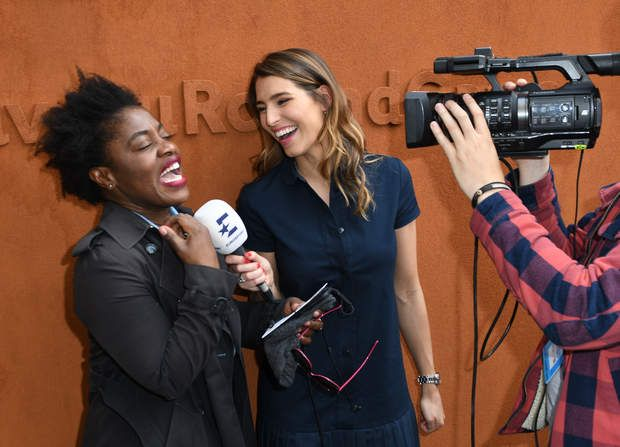 Claudia Tagbo interviewée par Laury Thilleman Claudia Tagbo and Laury Thillman posing at the Village during French Tennis Open at Roland-Garros arena in Paris, France on may 25, 2016. Photo by Laurent Zabulon/ABACAPRESS | 548540_080