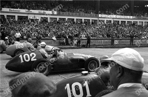 #101 Alberto Ascari (I) - Ferrari 500 (Ferrari 4) 1 (1) Scuderia Ferrari #102 Giuseppe Farina (I) - Ferrari 500 (Ferrari 4) 2 (2) Scuderia Ferrari #109 Maurice Trintignant (F) - Gordini T16 (Gordini 6) gearbox / accident (3) Equipe Gordini