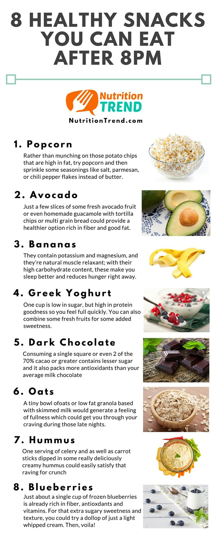 Late night snacking over time can lead to weight gain. Get control of your cravings and weight with these 8 fantastic snack options.