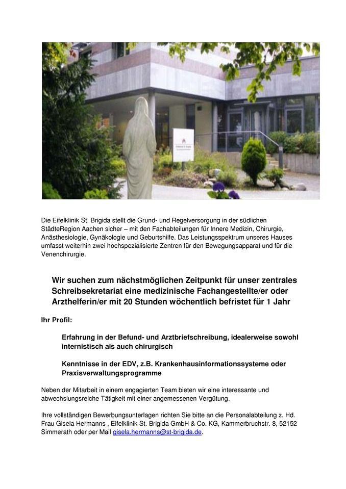 Eine/n medizinische Fachangestellte/er oder Arzthelferin/er - Jobbörse-Region-Aachen :: Stellenangebote für Aachen und die Euregio