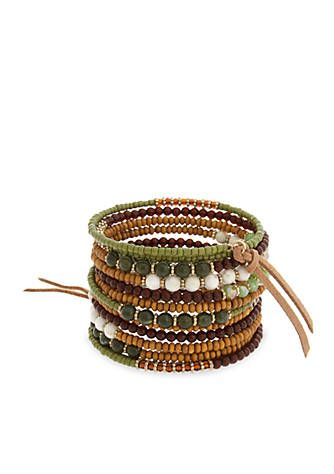 Gold-Tone Shaken Not Stirred Beaded Coil Bracelet
