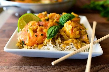 Coconut Curry Shrimp | The Pioneer Woman Cooks | Ree Drummond  Note to self: Tried with chicken instead of shrimp.  Used 1/2 onion instead. Browned chicken in butter then finished cooking chicken on cookie rack in the oven. **made rice with chicken stock instead of water