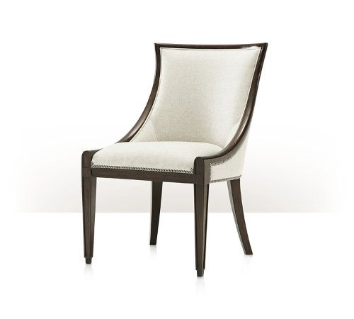 Scoop Back Chair Mahogany With Aged Pecan Finish Upholstered And Seat Nail