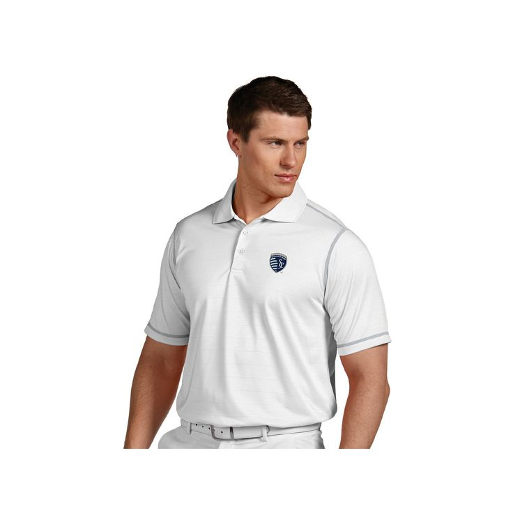 Men's Antigua Sporting Kansas City Icon Desert-Dry Tonal-Striped Performance Polo, Size: XXL, Natural