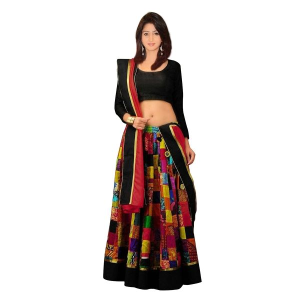 Buy Multi Colour French Crepe With Digital Print Work Designer Lehenga Online at cheap prices from Shopkio.com: India`s best online shoping site
